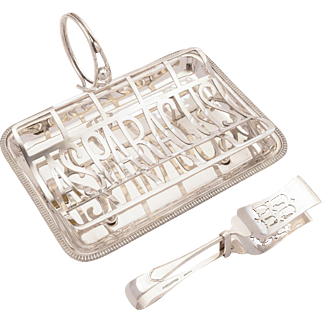 Edwardian Silver Plated Asparagus Dish With Tongs, Circa 1905