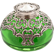 Victorian Silver Topped Ink Pot, London 1896