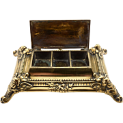 Victorian Brass Triple Stamp Box, Circa 1890