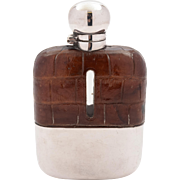 Edwardian Crocodile Leather Covered Hip Flask, Circa 1905
