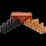 Cased Regency Style Boxwood Chess Set, Circa 1920