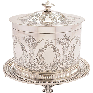 Victorian Oval Silver Plated Biscuit Box, Circa 1890