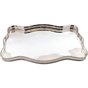 Oblong Silver Plated Gallery Drinks Tray, Circa 1920