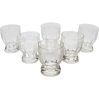 Set of 6 Etched Glass Tumblers, Circa 1920