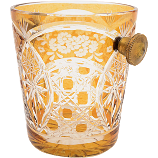 Continental Amber/Clear Glass Ice Bucket, Circa 1930
