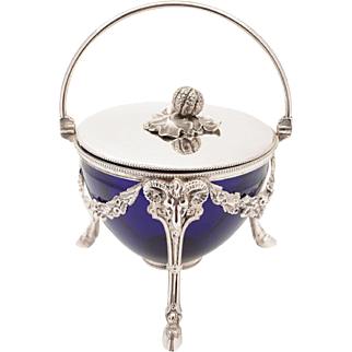 Victorian Glass and Silver Plated Biscuit/Cookie Box, Circa 1880
