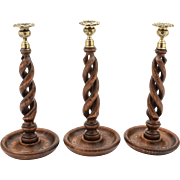 Trio of Oak Open Barley Twist Candlesticks, Circa 1920