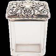 Edwardian Embossed Silver Topped Jar, Birmingham 1903