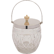 Silver Topped Cut Glass Biscuit Barrel, 1930