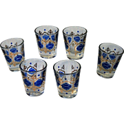 Set of 6 Vintage Shot Glasses Bohemian Blue and Gold Design