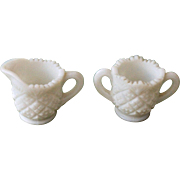 Westmoreland Thumbelina Child's Creamer and Open Sugar, Milk Glass