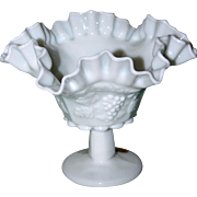 Westmoreland Crimped Ruffle Milk Glass Compote