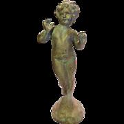 "20"" C1890 Art Nouveau Antique Verdigris Metal Figurine, Great Patina!"
