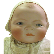 """Antique 18"""" German Bisque Character Baby, Large Grace Storey Putnam Bye Lo Doll"""