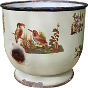 Uncommon French Napoleon III enameled metal jardiniere or « cache-pot » with birds pattern.