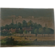 Early 20th French oil on board , country scene unsigned.