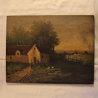 France late 19th century: a charming little oil on panel '' Countryside scene ''.