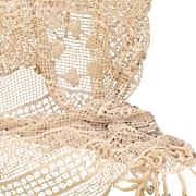 1900-1920 French handmade ecru crochet bedspread with fringes.