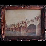 """A pretty small watercolor """"Le Pont Neuf  à Paris""""."""