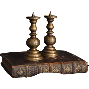 France early 1900's :  pair antique small bronze candlesticks.