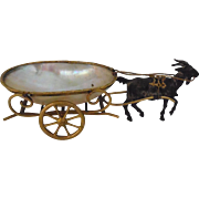 Antique French Napoleon III mother of pearl egg cart and ormolu goat. - Red Tag Sale Item
