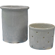 French popular art : white glazed stoneware jar and faisselle.