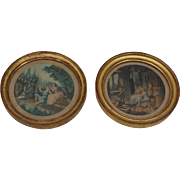Pair of small French boudoir romantic engravings : circa 1920.