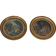 Pair of small French boudoir romantic engravings : circa 1920.