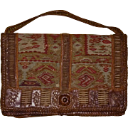 Small French leather and tapestry handbag.