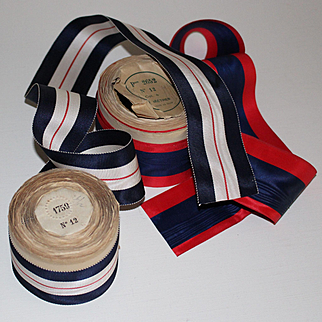 Set of two superb French ancient ribbons on their original coil. Blue,white,red tones.