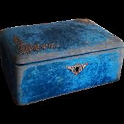 France Napoleon III : delicious faded blue velvet jewelry box.