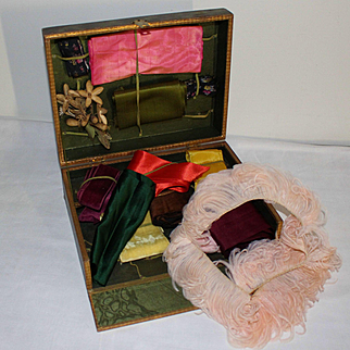 France 1900: a charming box with ribbons,feather and small wax bouquet for dolls project.