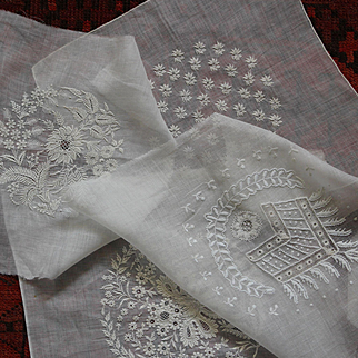 A set of  4 French Antique hand embroidered batiste pieces for hankies or caps projects.