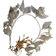 Romantic French bride's artificial flowers crown and small wax bouquet.Circa 1900