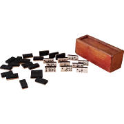 Charming French miniature domino box early 20th century.