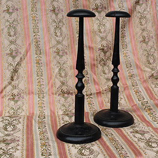 French late 19th:two Napoleon III blackened wood hat holder.