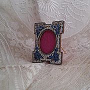Antique micromosaic picture frame.