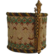 France late 19th century : charming small embroidered bracelet.
