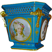 French hand painted porcelain jardiniere : Louis XVI and Marie-Antoinette portraits.