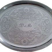 Christofle : silver plated oval tray : Art Nouveau period.