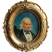 «Gentleman portrait» oil on board,unsigned.Circa 1850.
