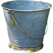 French country:small zinc and brass metal bucket late 19th century.