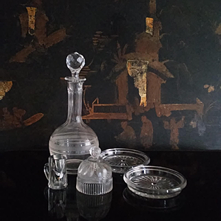 A set of 5 French ancient glassware pieces for dollhouse.