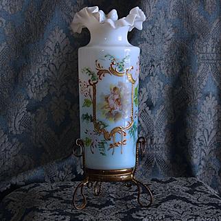French 1900s small enameled opaline glass vase,enhanced gold,with cherubs decor,gilt brass mount.