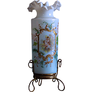 French 1900s small enameled opaline glass vase,enhanced gold,with cherubs decor,gilt brass mount.
