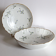 Set of two rare late 18th century French porcelain hollow dishes ''barbeau'' decor.