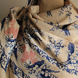 Delightful 19th century Normand printed cotton scarf or shawl with a lily of the valley pattern.