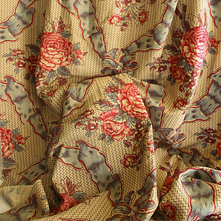 Charming French old piece of printed canvas with peonies and ribbons pattern for decoration projects.