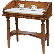 Adorable French miniature doll's faux bamboo dressing table circa 1880-1900.