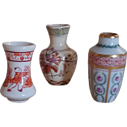 Set of 3 lovely little vases for dollhouse : France circa 1920.